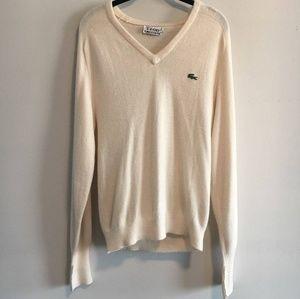 Vintage Men's Oversize Lacoste V-Neck Sweater